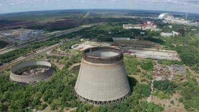 Drone Flight Over Cooling Towers Near Power Plant