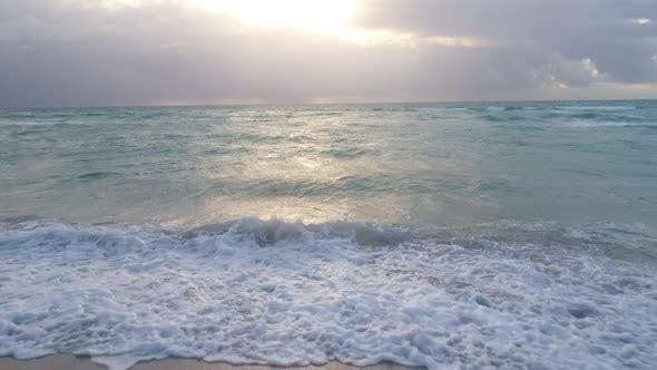 Gorgeous Lighting Waves Crashing On White Sand Beach Movement