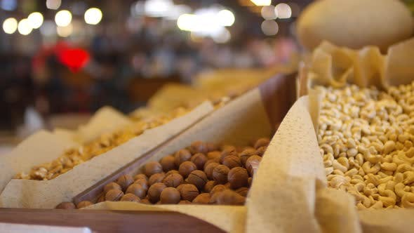 Thumbnail for Various Nuts on Shelf in Food Market