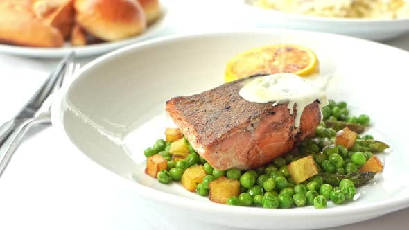 Grilled salmon meat steak with vegetable