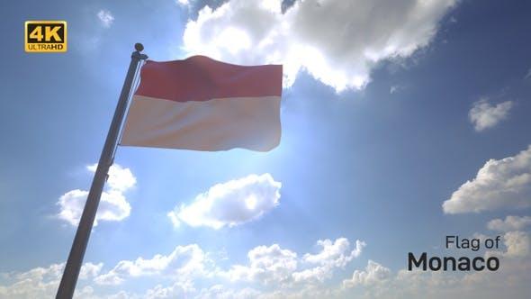 Thumbnail for Monaco Flag on a Flagpole V4 - 4K