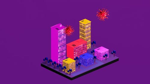 Isometric Corona Pandemic hits the city