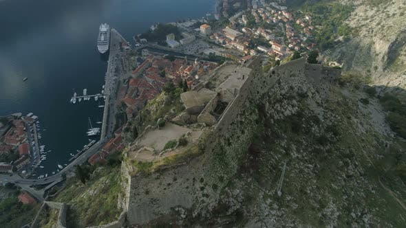 Aerial View of the Old Fortress of the City of Kotor