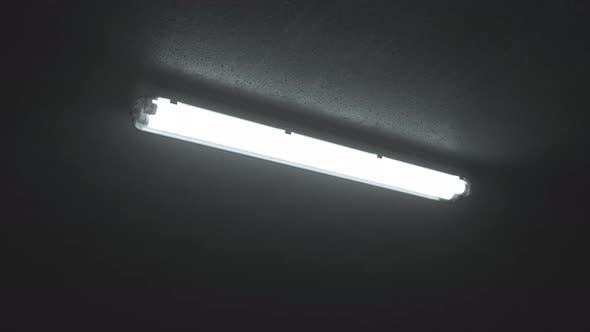 Thumbnail for Double fluorescent lighting turn on ceiling in industrial building