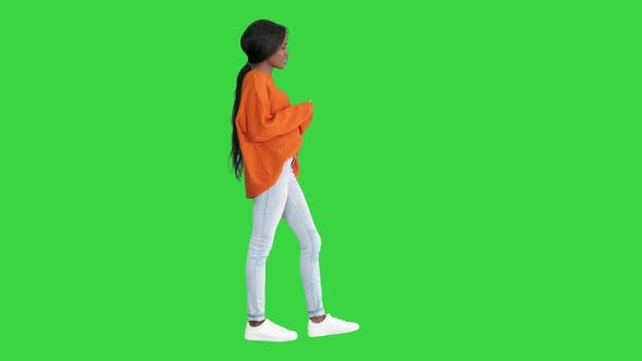 Thumbnail for Cheerful African American Woman Wearing Bright Sweater and Jeans Talking To the Camera on a Green
