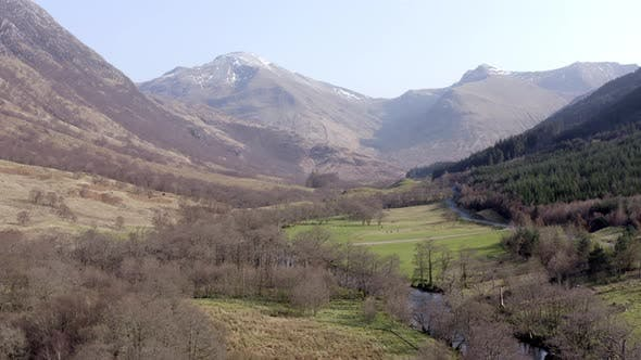 Typical Scottish Highlands Landscape Views with Mountains, Rivers and Forests
