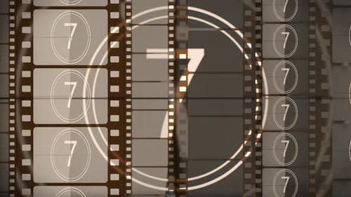 Film Countdown Background with Film Strip on the Cinema Screen
