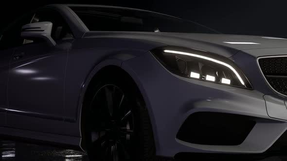 Thumbnail for Luxury Sports White Car at Night - Close Up