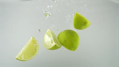 Limes Falling into Water 30