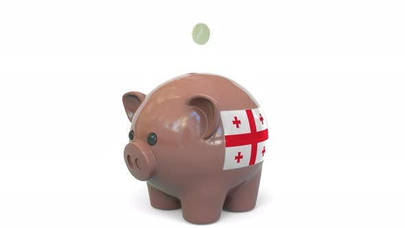 Thumbnail for Putting Money Into Piggy Bank with Flag of Georgia