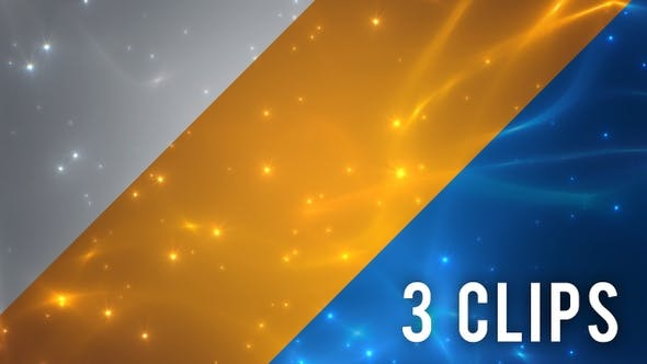 Energy Flux and Particles Background - 3 Clips Blue Golden Silver