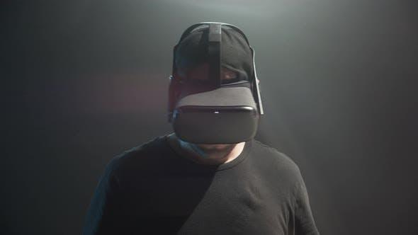 Male Gamer In VR Headset