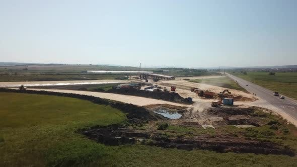 Thumbnail for Aerial View of Construction Of Highways . Road Construction Machinery