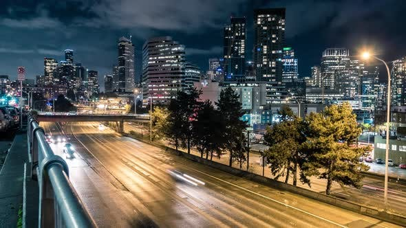 Thumbnail for Epic Night Time Lapse Downtown Seattle Freeway And Skyscraper Buildings