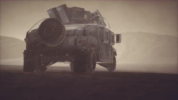 Thumbnail for Military Patrol Car on Sunset in Desert Storm