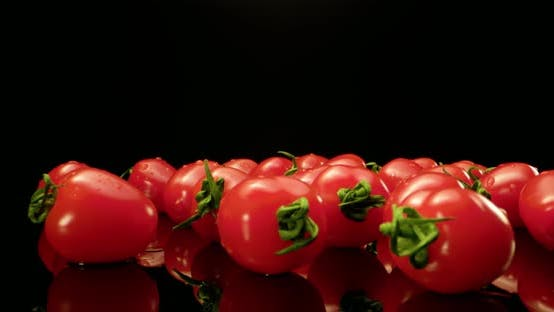Red Tomatoes on Black Glossy Background