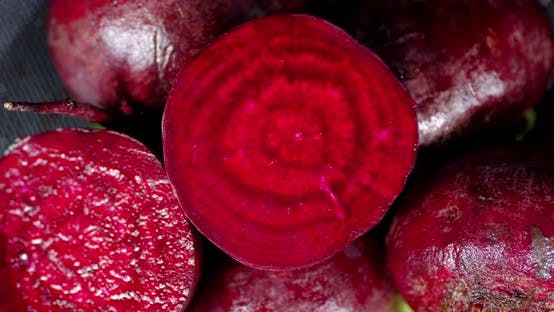 Thumbnail for Rotating Fresh Beets . Top View.