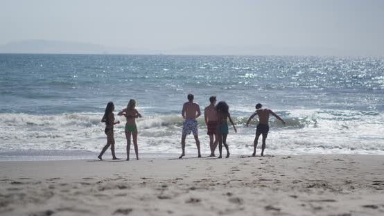 Thumbnail for Group of young interracial friends walking the beach shore