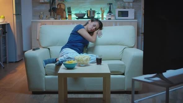 Housewife Falling Asleep in Living Room
