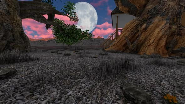 Thumbnail for Night landscape with moon