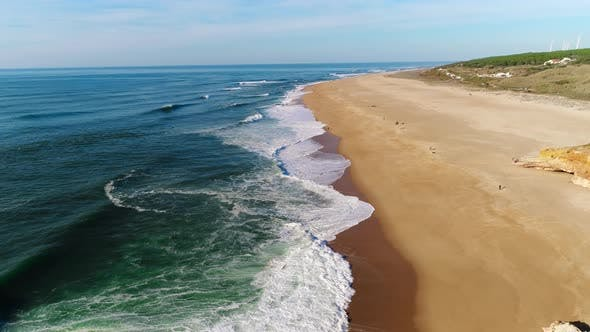 Cover Image for Aerial of Big Waves of Atlantic Ocean in Nazare