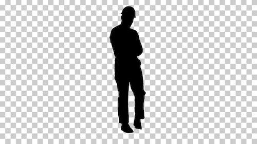 Silhouette Workman walking, Alpha Channel