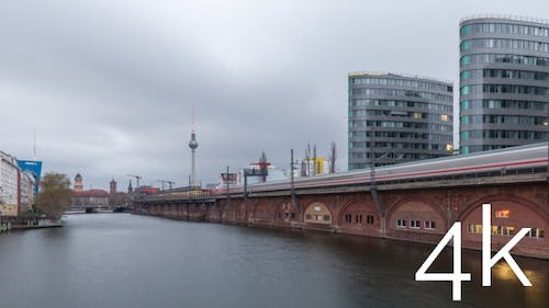 Cloudy sunset timelapse of central Berlin skyline, TV tower, spree river