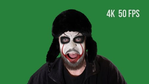 Clown Screams On Green Screen