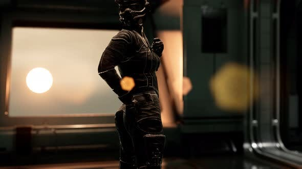 Thumbnail for Sexy Futurictic Astronaut in the Space Station