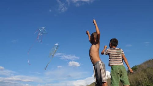 Poor Asian Children Playing With Kite