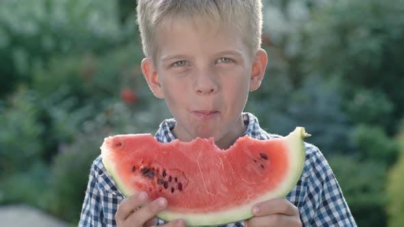 Thumbnail for Little Boy Enjoying Watermelon