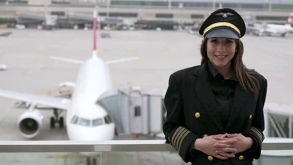 Avation Career Lifestyle Scene of Attractive Successful Woman Pilot