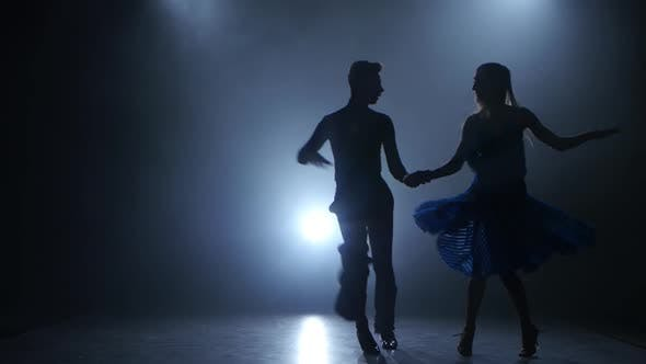 Thumbnail for Professional Couple of Jive Dancers Posing in Smoky Studio, Silhouette