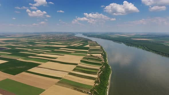 Thumbnail for Aerial View of Fields on High Bank of Danube