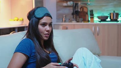 Gamer Having Fun at Playstation