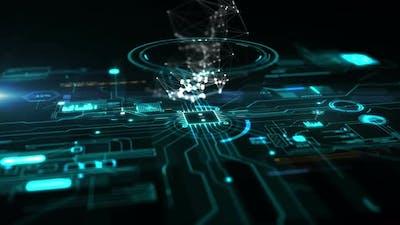 Blue abstract high tech circuit