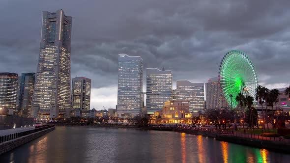Thumbnail for Yokohama Skyscrapers Night Lights Japan Timelapse