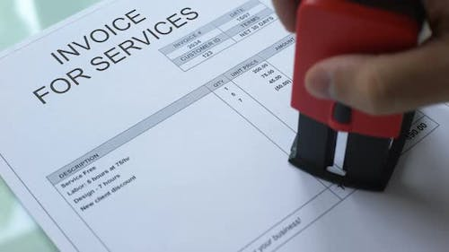 Invoice for Service Final Reminder, Stamping Seal on Official Document, Business