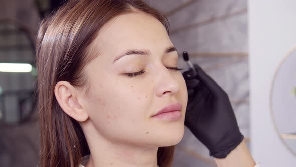Beauty Services Concept. Young Woman Performs Eyebrow Care