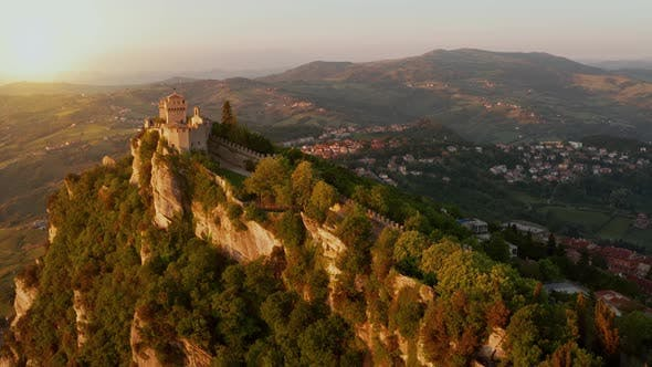 Thumbnail for Flying over the amazing hilltop fortresses on Monte Titano in San Marino.