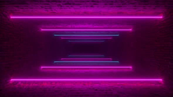 Thumbnail for Flying Through Glowing Neon Lines