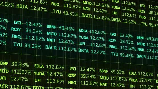 Stock market data processing against black background