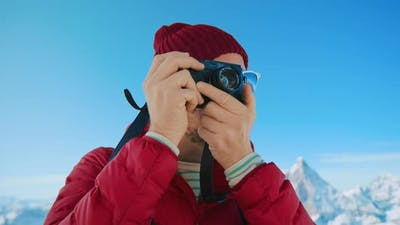 Portrait of Millennial Travel Blogger in Winter