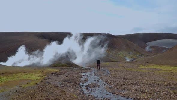 Thumbnail for Traveler Hikes at Landmannalaugar Nature Landscape