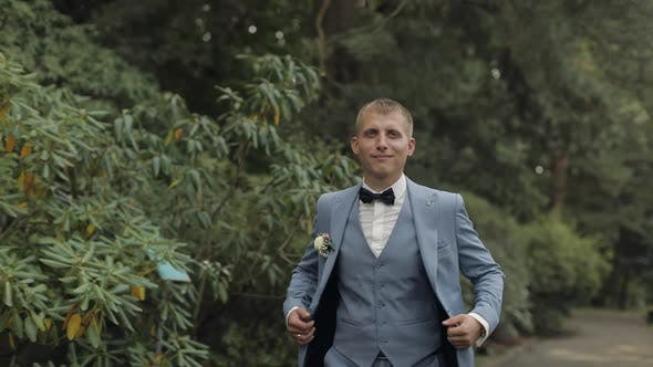 Thumbnail for Groom, Brunette Young Man in the Park. Wedding Day. Businessman