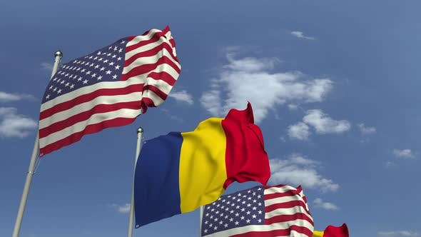 Thumbnail for Flags of Romania and the USA at International Meeting