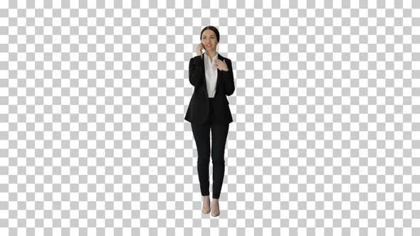 Thumbnail for Young Businesswoman talking on her phone, Alpha Channel