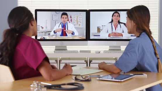 Thumbnail for Diverse group of medical doctors having a video conference