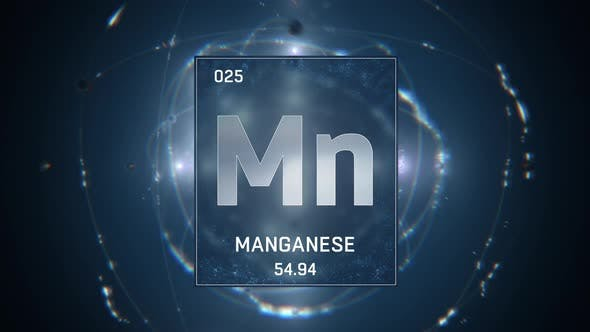 Thumbnail for Manganese as Element 25 of the Periodic Table on Blue Background
