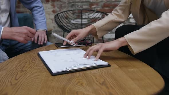 Thumbnail for Businesswoman and Businessman are Having Conversation, Draw Up a Contract, Sign Documents
